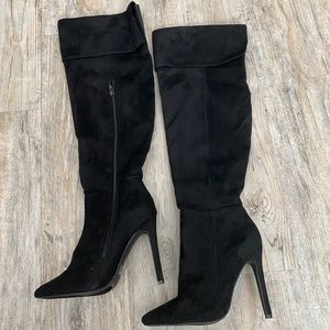 Glaze Stiletto Knee High Boots Black Size 7